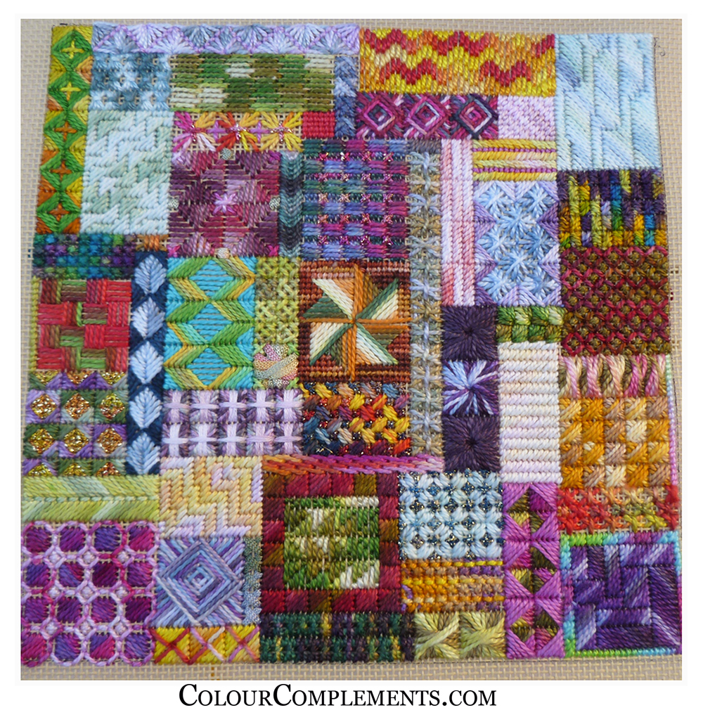 needlepoint, stitch sampler