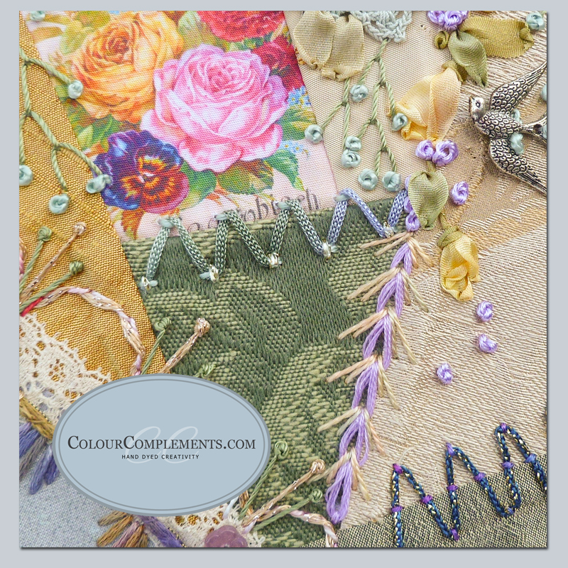 crazy quilting, hand dyed embroidery threads