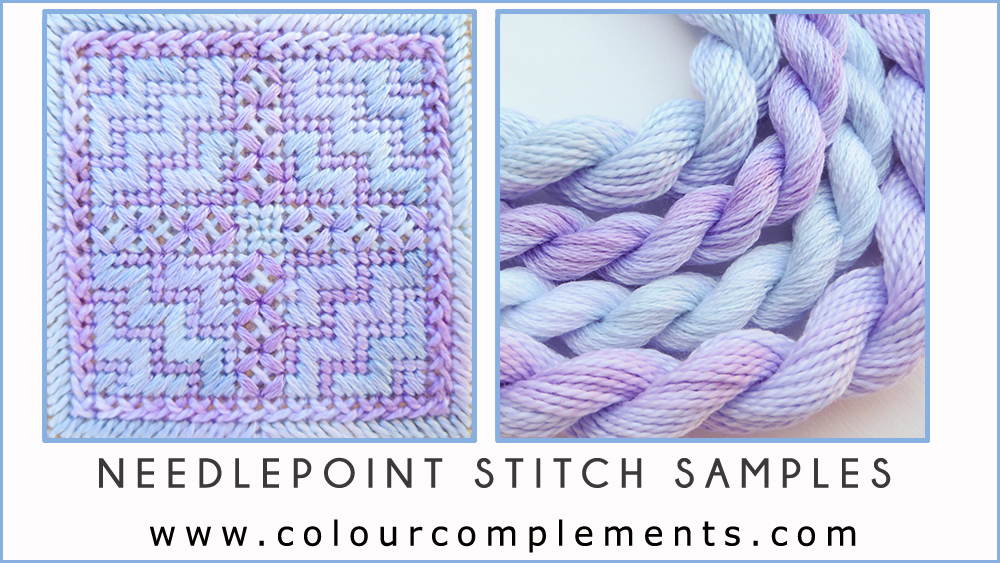 needlepoint, colour complements spring colours, needlepoint stitch sample