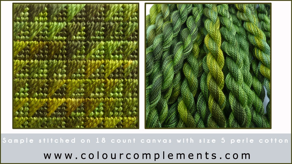 NEEDLEPOINT STITCH SAMPLES, hand dyed threads Colour Complements