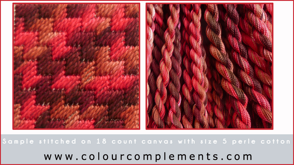 needlepoint, Colour Complements threads, needlepoint stitch samples
