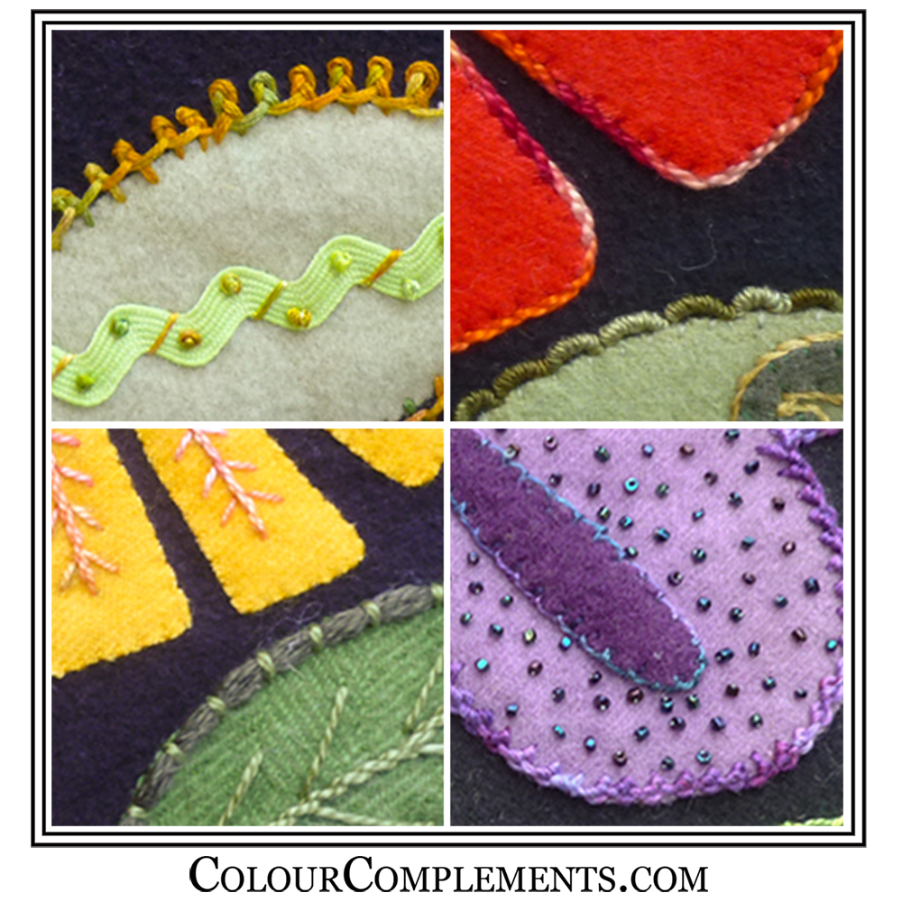 WOOL APPLIQUE, hand dyed embroidery threads