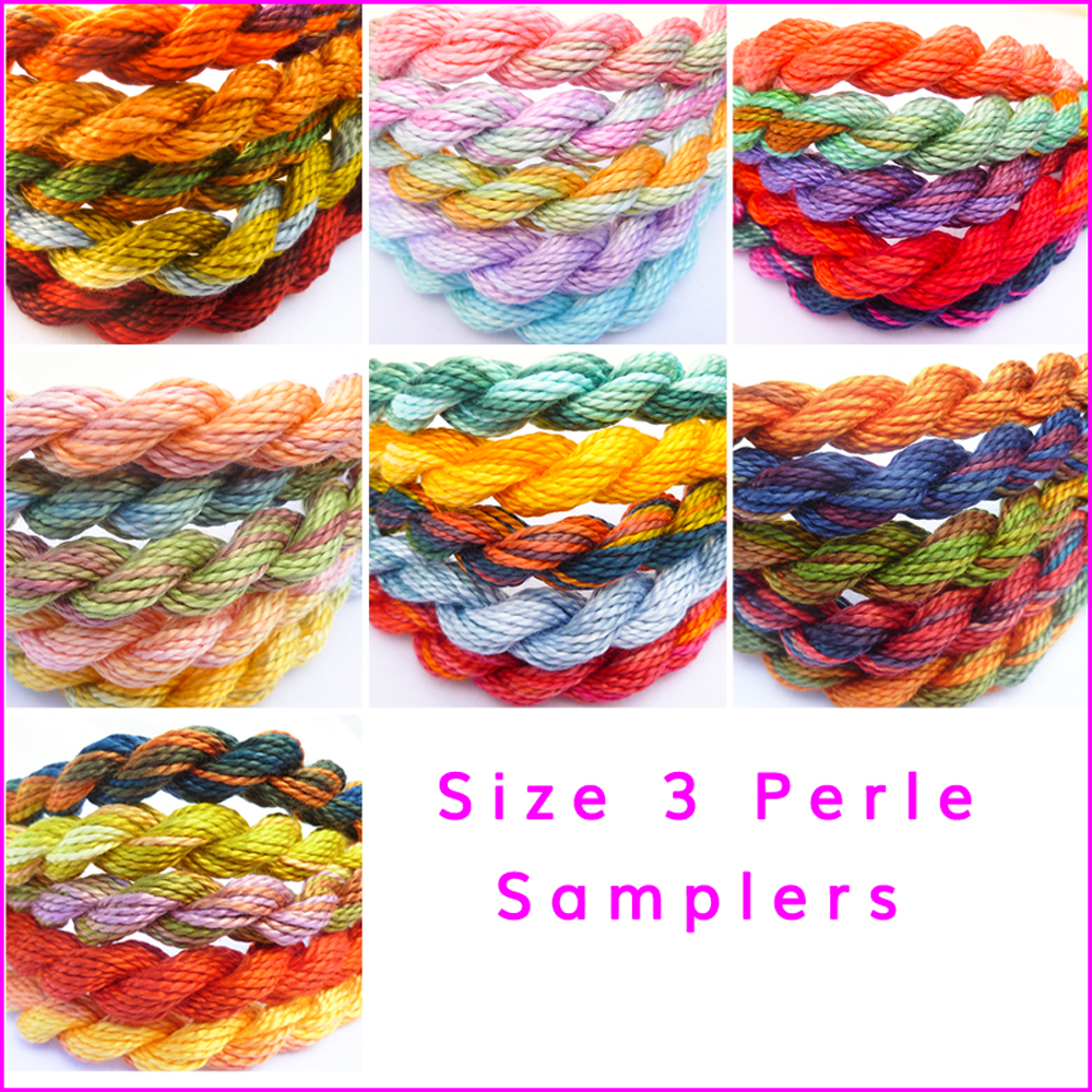 SAMPLERS, size 3 perle, hand dyed threads