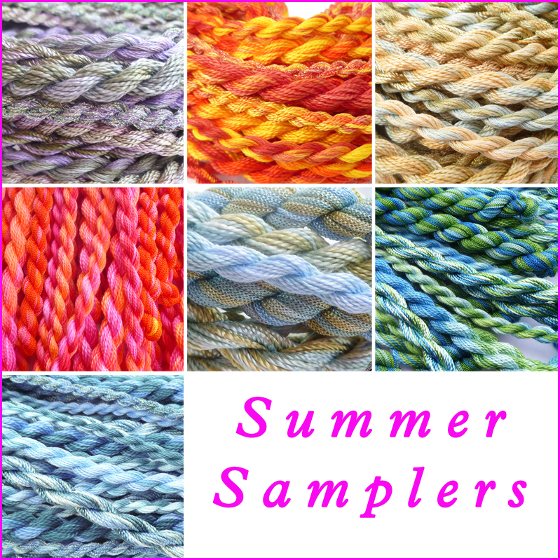 SUMMER SAMPLERS, hand dyed threads