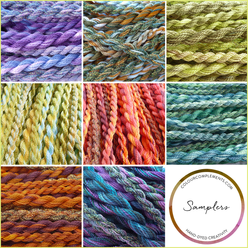SAMPLERS, hand dyed embroidery threads