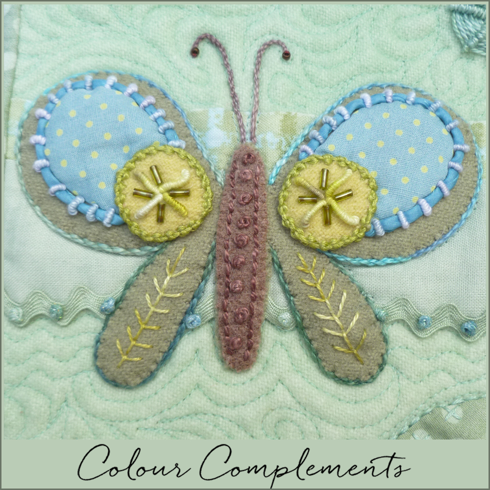 wool applique, Sue Spargo butterfly sampler, Colour complements threads