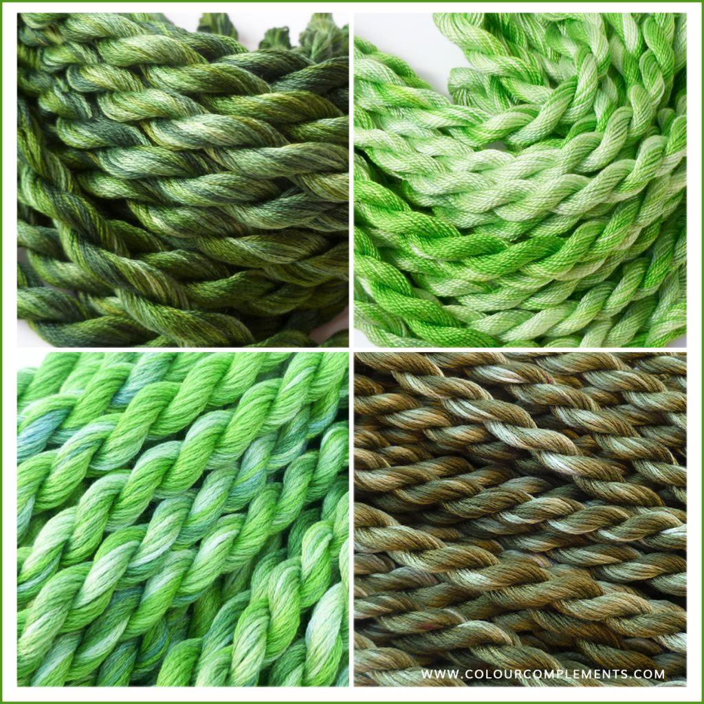 GREEN, green embroidery threads
