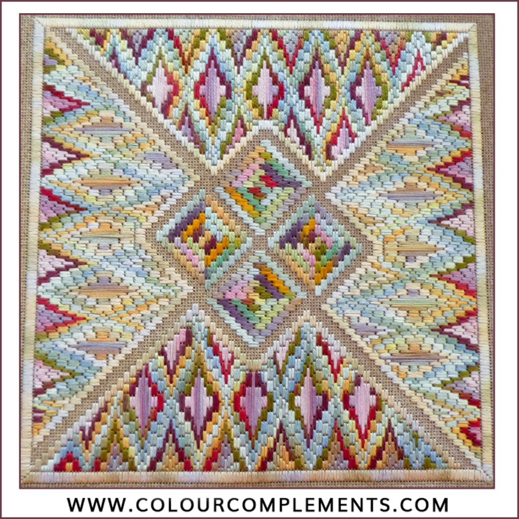 Intarsia; colour complements embroidery floss