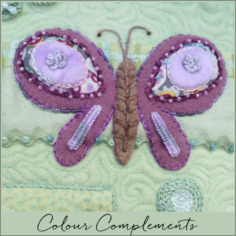 wool applique butterflies using Colour Complements threads