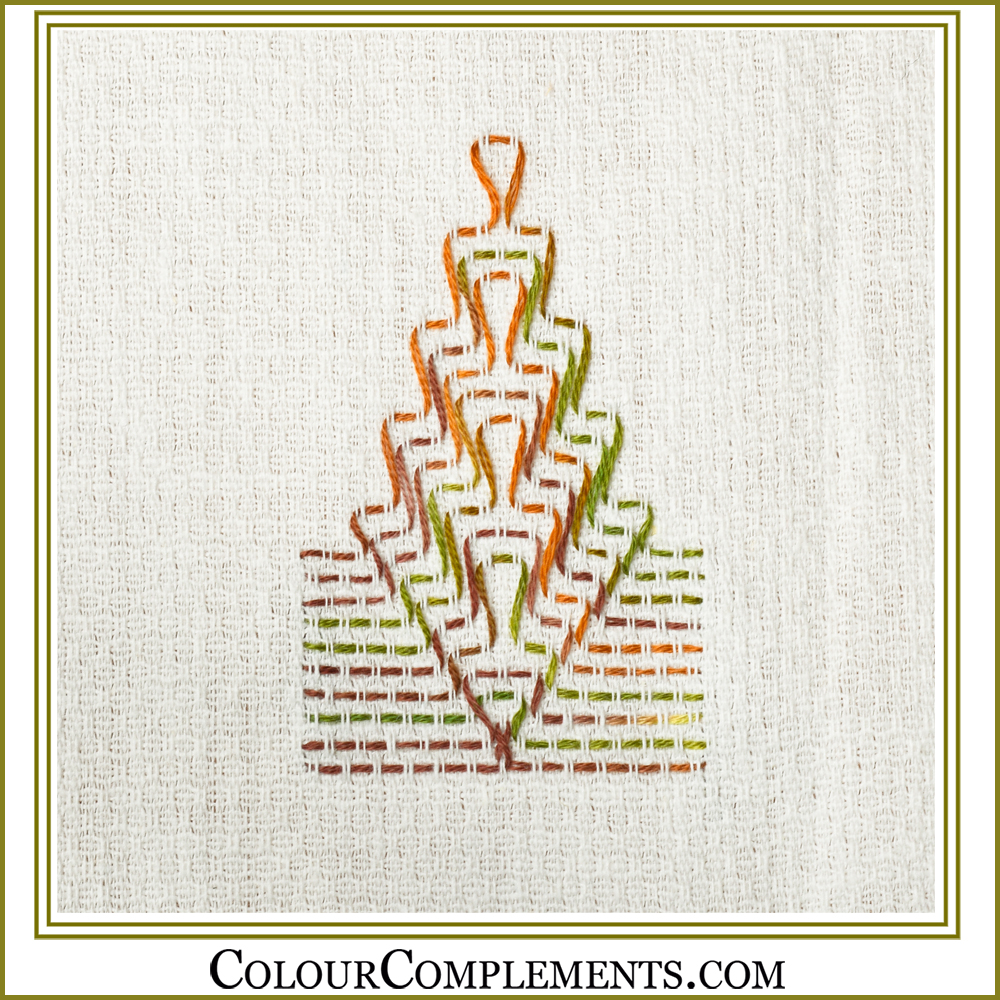 HUCK WEAVING using Colour Complements embroidery floss