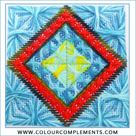 needlepoint stitch sample colour complements