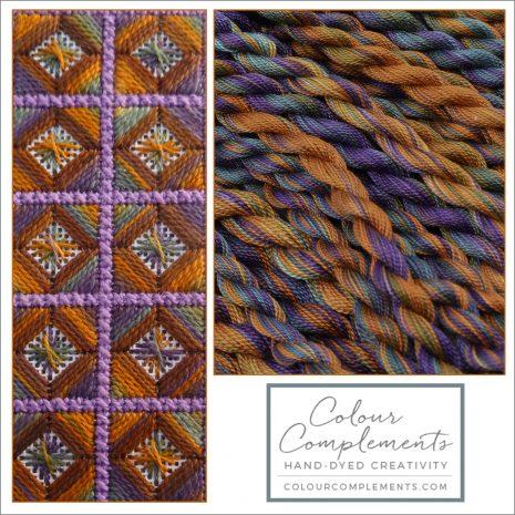 golden-brown-purple-blue-needlepoint-colour-complements